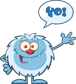 png_cute-little-yeti-cartoon-mascot-character-waving-for-greeting-with-speech-bubble-and-text-yo%21-vector