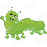 211664-Green Inchworm with a happy smile-color-png