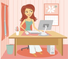 Cartoon-Woman-in-Pajamas-at-Desk