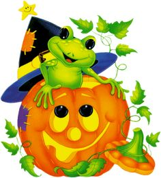frog witch hat pumpkin